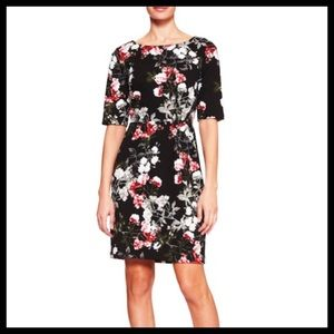 BANANA REPUBLIC | black red gray floral 3/4 sleeve